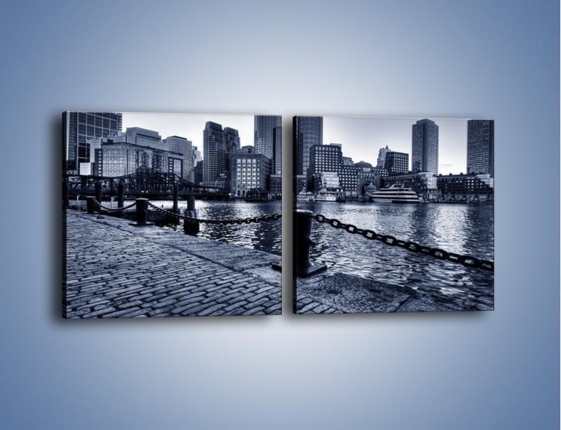 Obraz na płótnie – Wybrukowana wybrzeże miasta – dwuczęściowy kwadratowy poziomy AM132