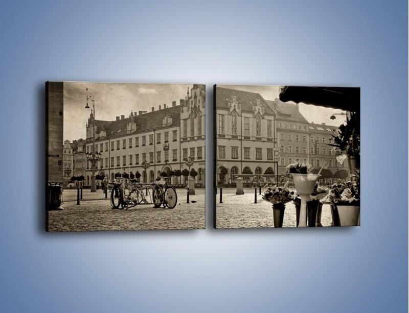 Obraz na płótnie – Rynek Starego Miasta w stylu vintage – dwuczęściowy kwadratowy poziomy AM138