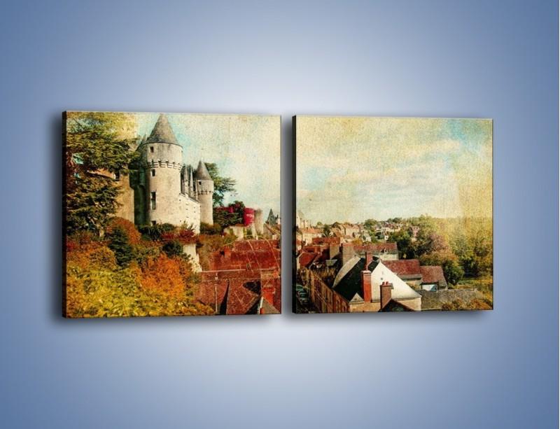 Obraz na płótnie – Zamek nad miasteczkiem w stylu vintage – dwuczęściowy kwadratowy poziomy AM142