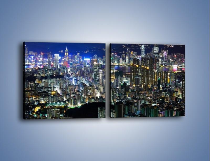 Obraz na płótnie – Nocne światła w dużym mieście – dwuczęściowy kwadratowy poziomy AM144