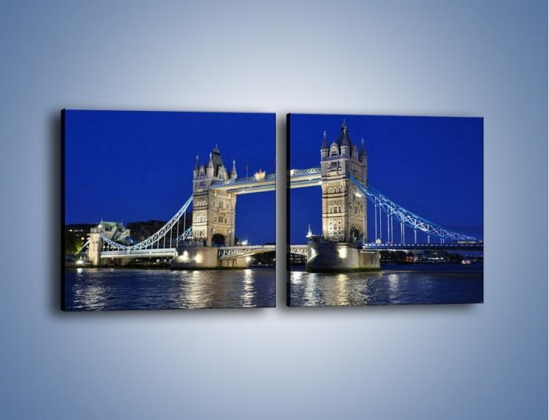 Obraz na płótnie – Tower Bridge nocą – dwuczęściowy kwadratowy poziomy AM145