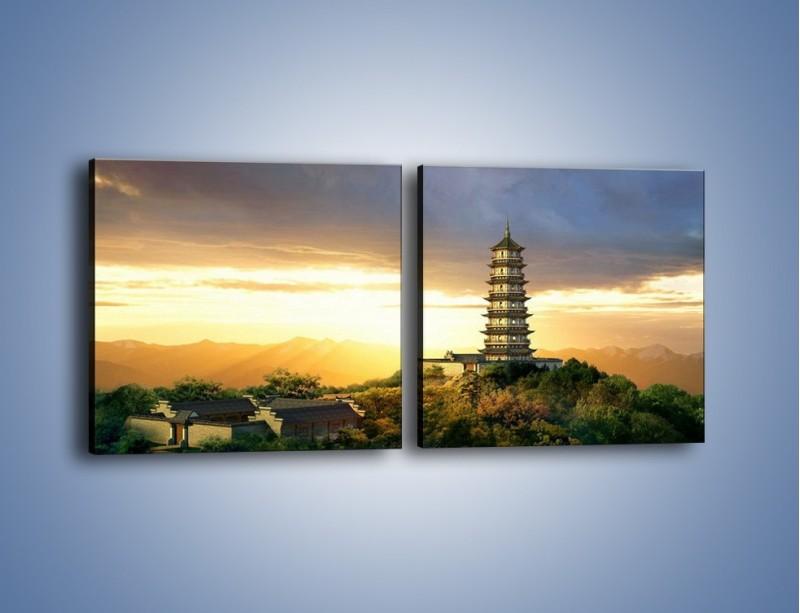 Obraz na płótnie – Azjatycka architektura o poranku – dwuczęściowy kwadratowy poziomy AM151