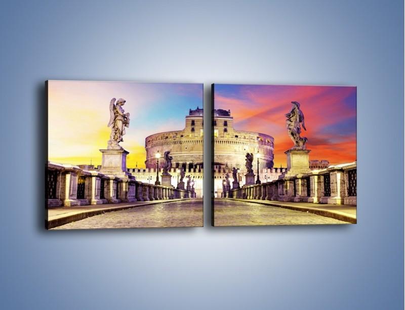 Obraz na płótnie – Zamek św. Anioła na tle kolorowego nieba – dwuczęściowy kwadratowy poziomy AM156