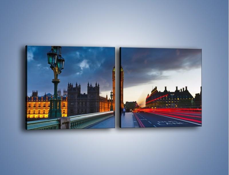 Obraz na płótnie – Big Ben świetle lamp – dwuczęściowy kwadratowy poziomy AM166