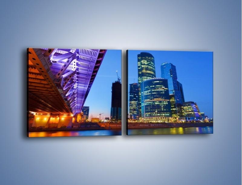Obraz na płótnie – Kolorowy most nad rozświetloną rzeką – dwuczęściowy kwadratowy poziomy AM169