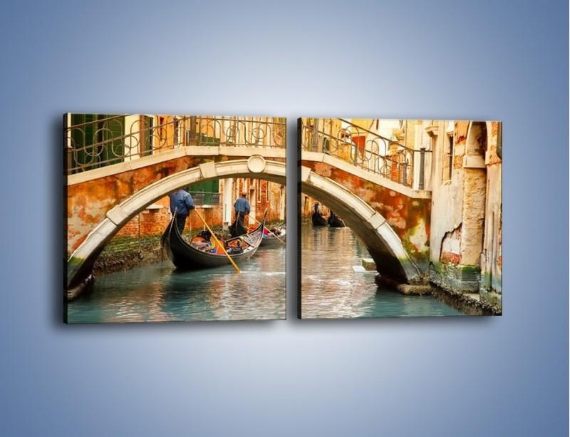 Obraz na płótnie – Weneckie gondole – dwuczęściowy kwadratowy poziomy AM172