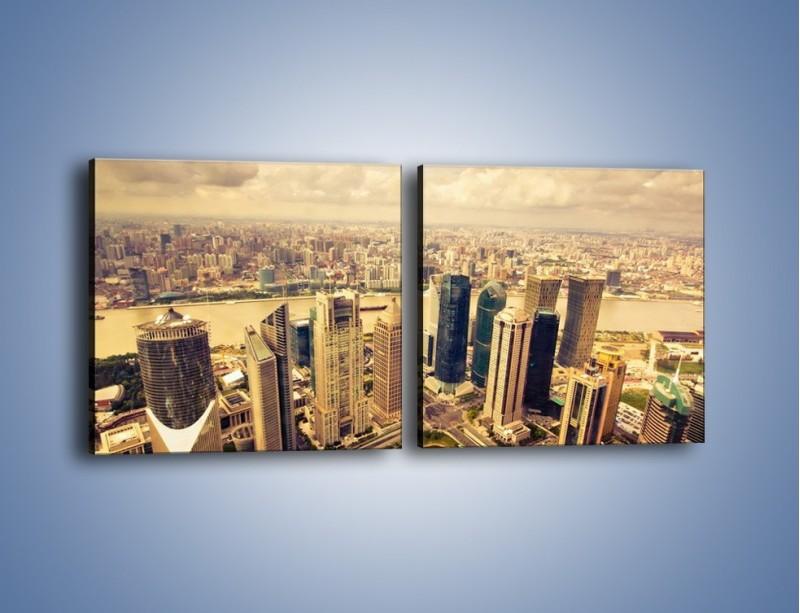 Obraz na płótnie – Miasto w pochmurny dzień – dwuczęściowy kwadratowy poziomy AM178