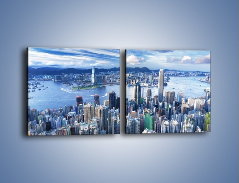 Obraz na płótnie – Miasto portowe pod błękitnym niebem – dwuczęściowy kwadratowy poziomy AM187
