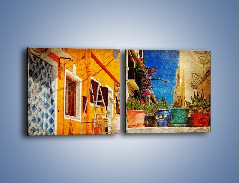 Obraz na płótnie – Greckie domki w stylu vintage – dwuczęściowy kwadratowy poziomy AM190