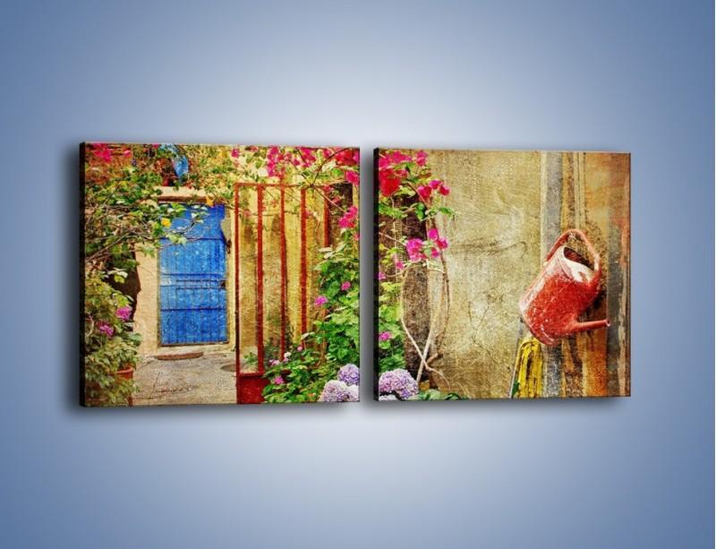 Obraz na płótnie – Mała uliczka w Grecji vintage – dwuczęściowy kwadratowy poziomy AM191