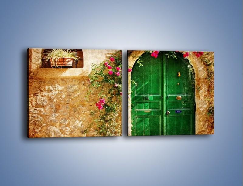 Obraz na płótnie – Drzwi w greckim domu vintage – dwuczęściowy kwadratowy poziomy AM192
