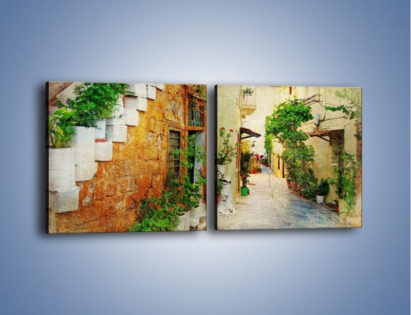 Obraz na płótnie – Urokliwa uliczka w stylu vintage – dwuczęściowy kwadratowy poziomy AM194