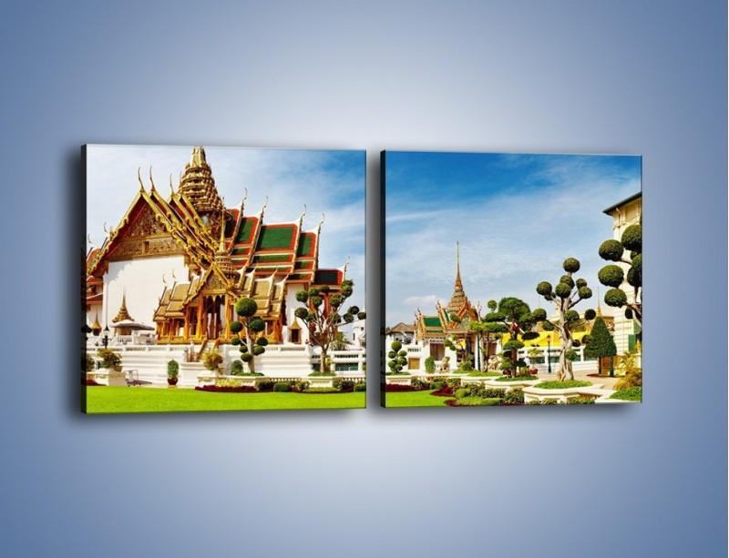 Obraz na płótnie – Tajska architektura pod błękitnym niebem – dwuczęściowy kwadratowy poziomy AM197