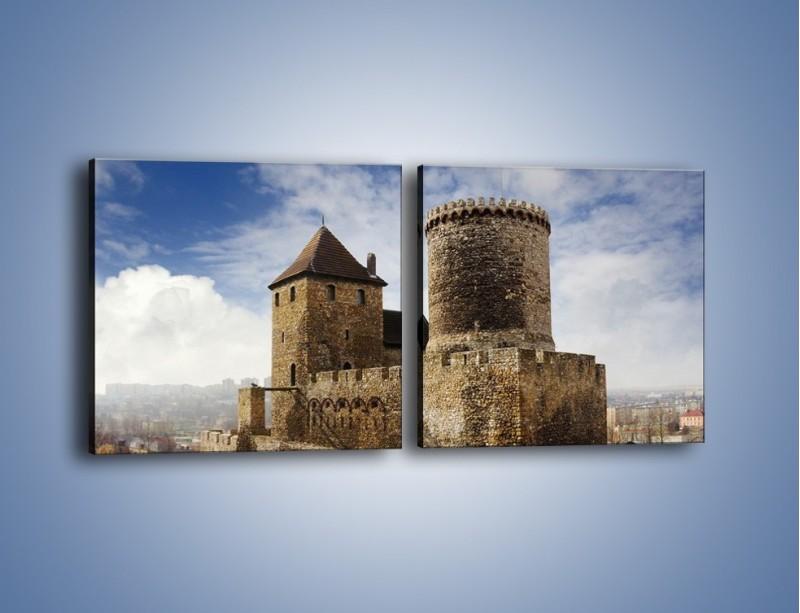 Obraz na płótnie – Średniowieczna fortyfikacja – dwuczęściowy kwadratowy poziomy AM201