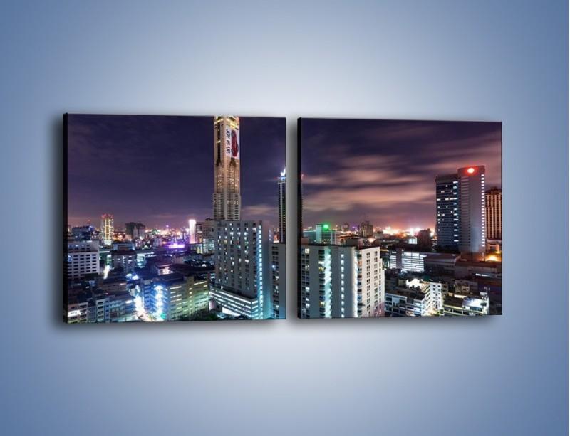 Obraz na płótnie – Duże miasto nocą – dwuczęściowy kwadratowy poziomy AM202