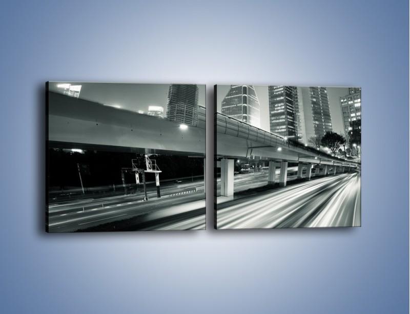 Obraz na płótnie – Miasto w odcieniach szarości – dwuczęściowy kwadratowy poziomy AM205