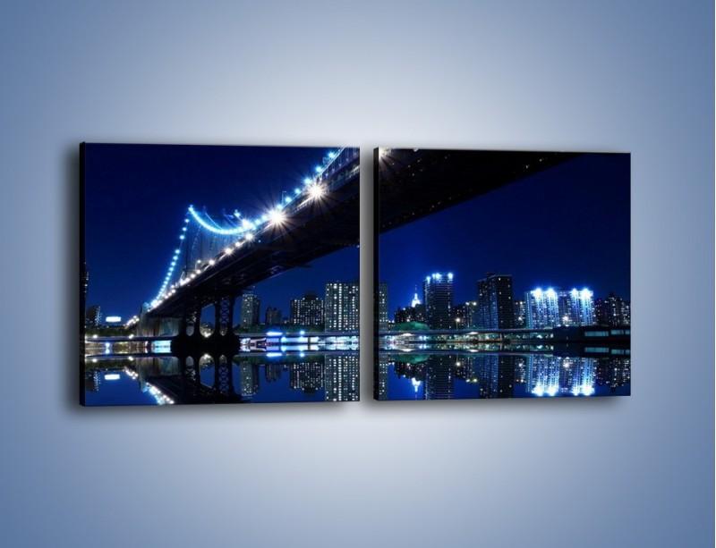 Obraz na płótnie – Oświetlony most w odbiciu wody – dwuczęściowy kwadratowy poziomy AM211