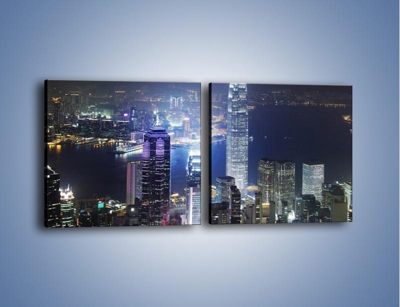 Obraz na płótnie – Miasto oświetlone nocą – dwuczęściowy kwadratowy poziomy AM223