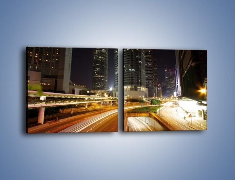 Obraz na płótnie – Miasto w nocnym ruchu ulicznym – dwuczęściowy kwadratowy poziomy AM225