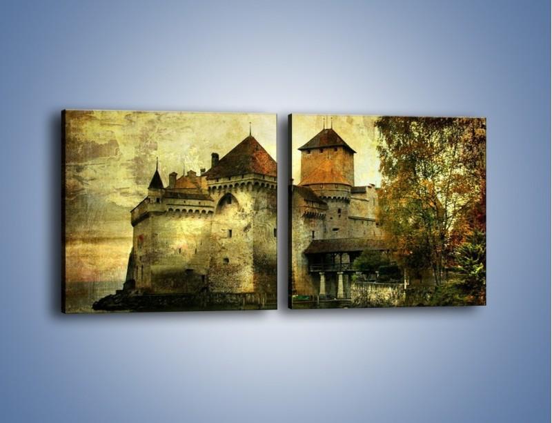 Obraz na płótnie – Średniowieczny zamek w stylu vintage – dwuczęściowy kwadratowy poziomy AM233