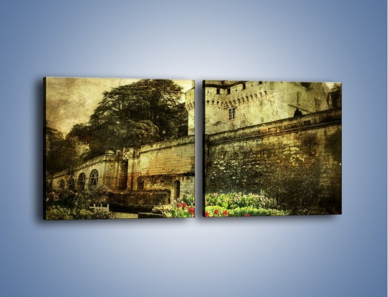 Obraz na płótnie – Zamek w stylu vintage – dwuczęściowy kwadratowy poziomy AM234