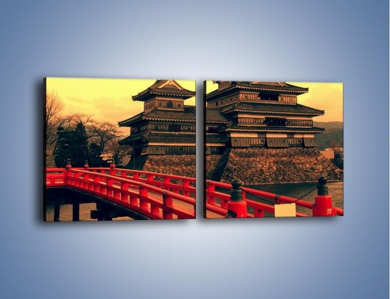 Obraz na płótnie – Japońska architektura – dwuczęściowy kwadratowy poziomy AM235