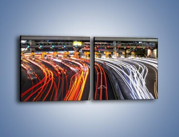 Obraz na płótnie – Autostradowa bramka w ruchu świateł – dwuczęściowy kwadratowy poziomy AM236