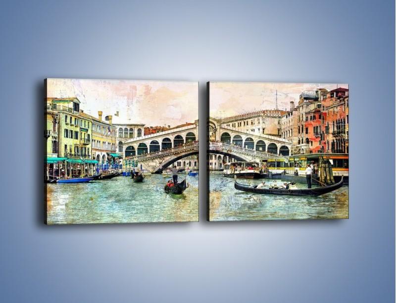 Obraz na płótnie – Wenecja w stylu vintage – dwuczęściowy kwadratowy poziomy AM239