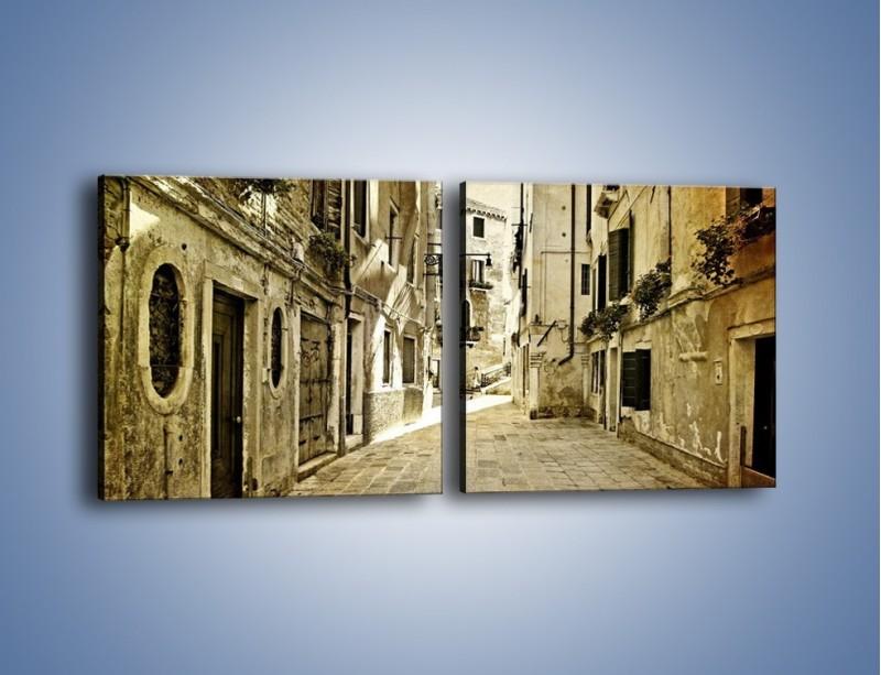Obraz na płótnie – Stara uliczka w stylu vintage – dwuczęściowy kwadratowy poziomy AM243