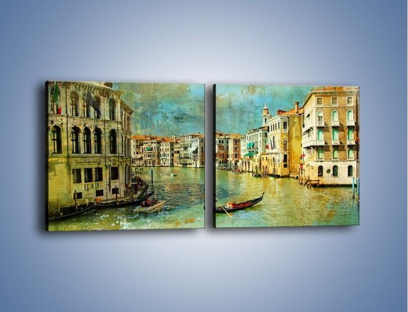 Obraz na płótnie – Weneckie lato w stylu vintage – dwuczęściowy kwadratowy poziomy AM245
