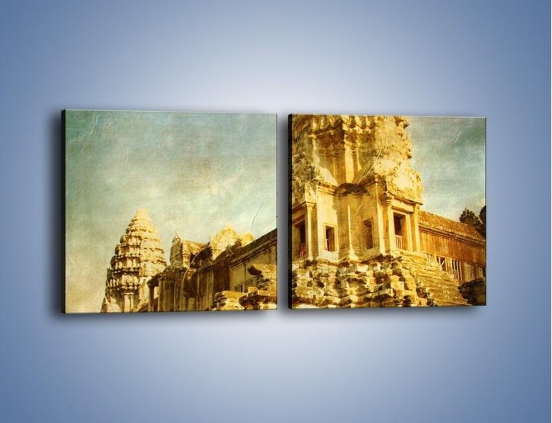 Obraz na płótnie – Starożytna architektura w stylu vintage – dwuczęściowy kwadratowy poziomy AM246