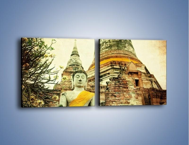 Obraz na płótnie – Tybetańska architektura w stylu vintage – dwuczęściowy kwadratowy poziomy AM247