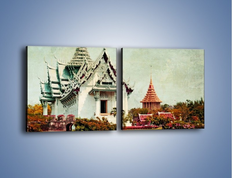 Obraz na płótnie – Dalekowschodni domek w stylu vintage – dwuczęściowy kwadratowy poziomy AM249