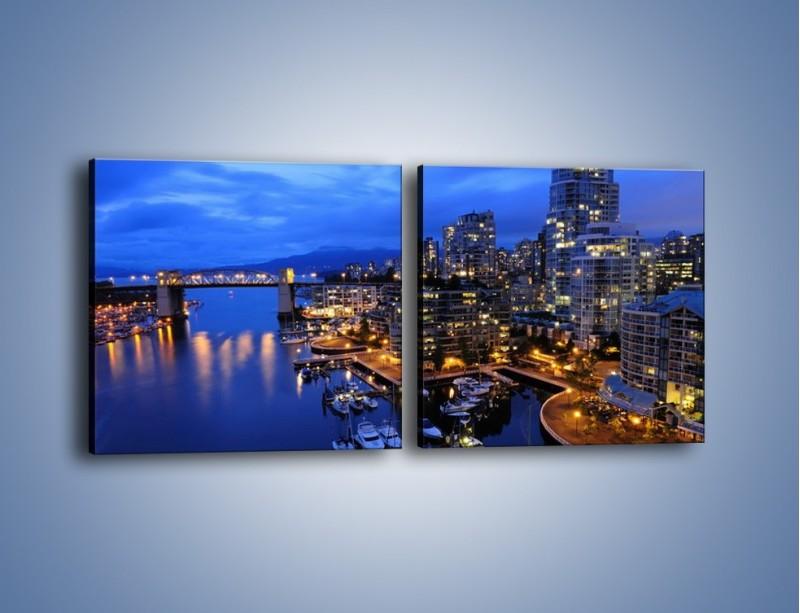 Obraz na płótnie – Port na jachty w mieście nocą – dwuczęściowy kwadratowy poziomy AM250