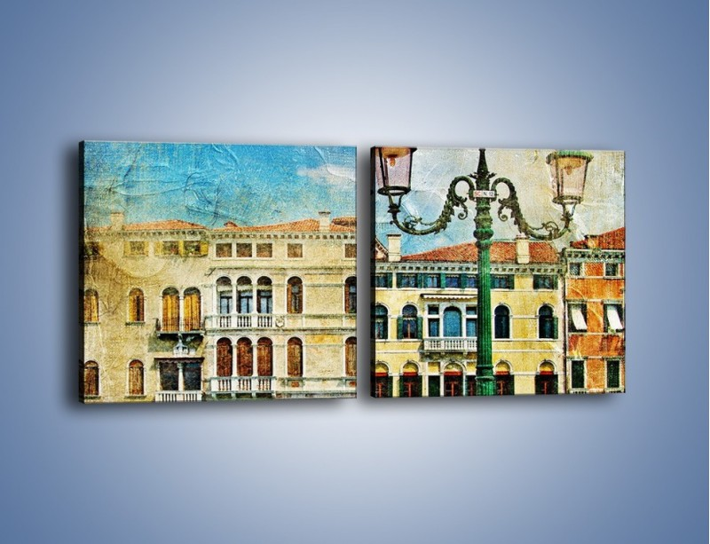 Obraz na płótnie – Lampa na tle weneckich domków vintage – dwuczęściowy kwadratowy poziomy AM257