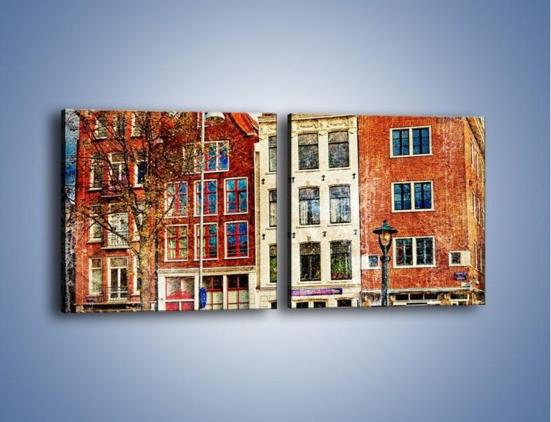 Obraz na płótnie – Amsterdam w stylu vintage – dwuczęściowy kwadratowy poziomy AM258