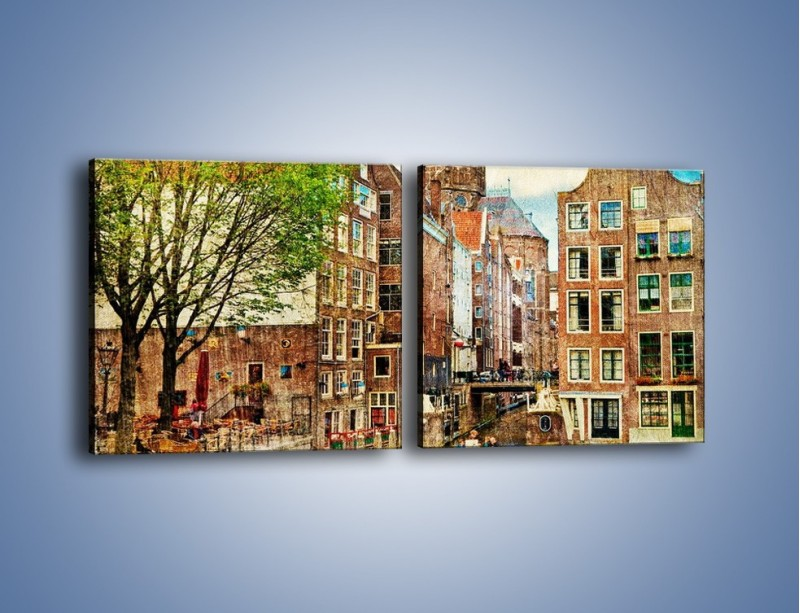 Obraz na płótnie – Kanał w Amsterdamie vintage – dwuczęściowy kwadratowy poziomy AM259