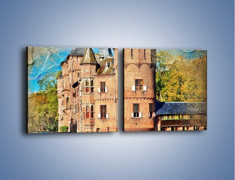Obraz na płótnie – Zamek nad wodą w stylu vintage – dwuczęściowy kwadratowy poziomy AM262