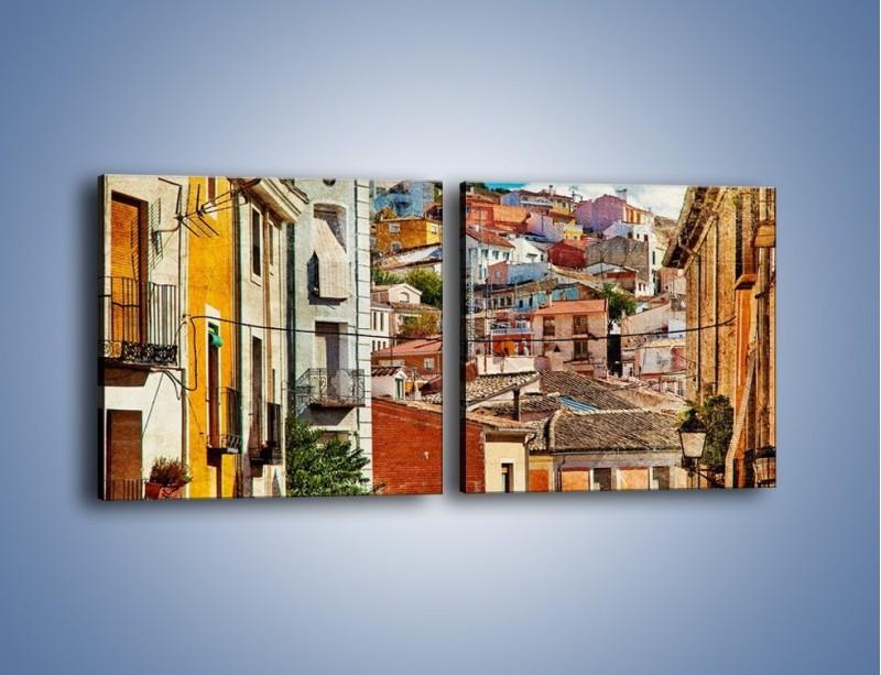 Obraz na płótnie – Kolorowe domki na wzgórzu vintage – dwuczęściowy kwadratowy poziomy AM264