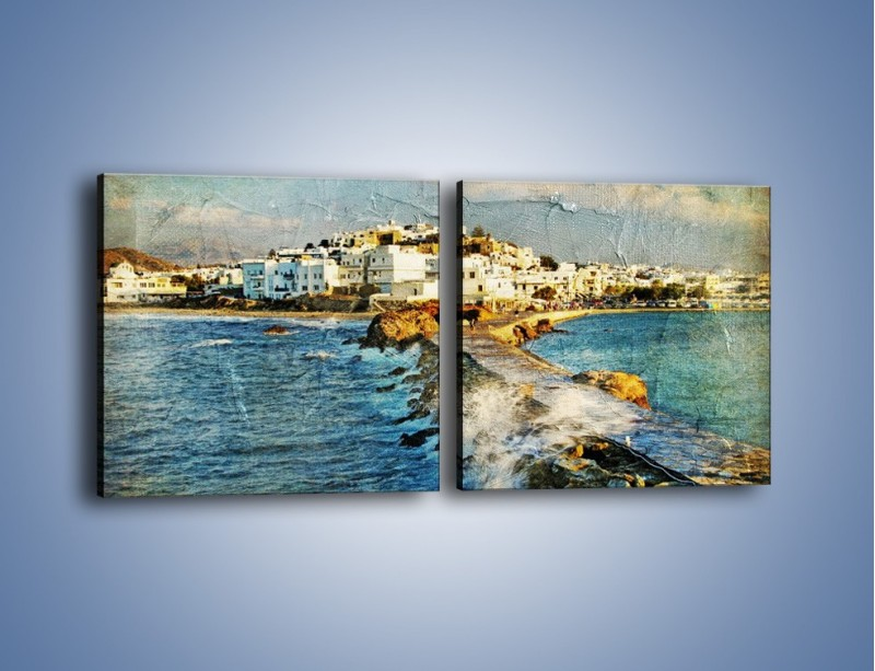 Obraz na płótnie – Grecka dróżka przez wodę vintage – dwuczęściowy kwadratowy poziomy AM268