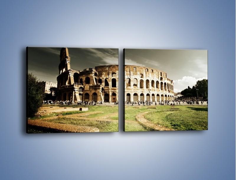 Obraz na płótnie – Koloseum przed burzą – dwuczęściowy kwadratowy poziomy AM271