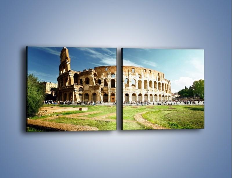 Obraz na płótnie – Koloseum w piękny dzień – dwuczęściowy kwadratowy poziomy AM273