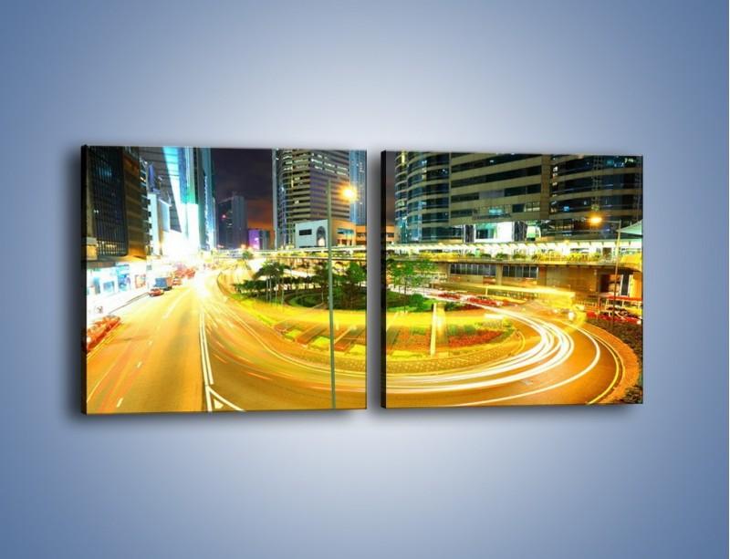 Obraz na płótnie – Światła samochodów w ruchu – dwuczęściowy kwadratowy poziomy AM280