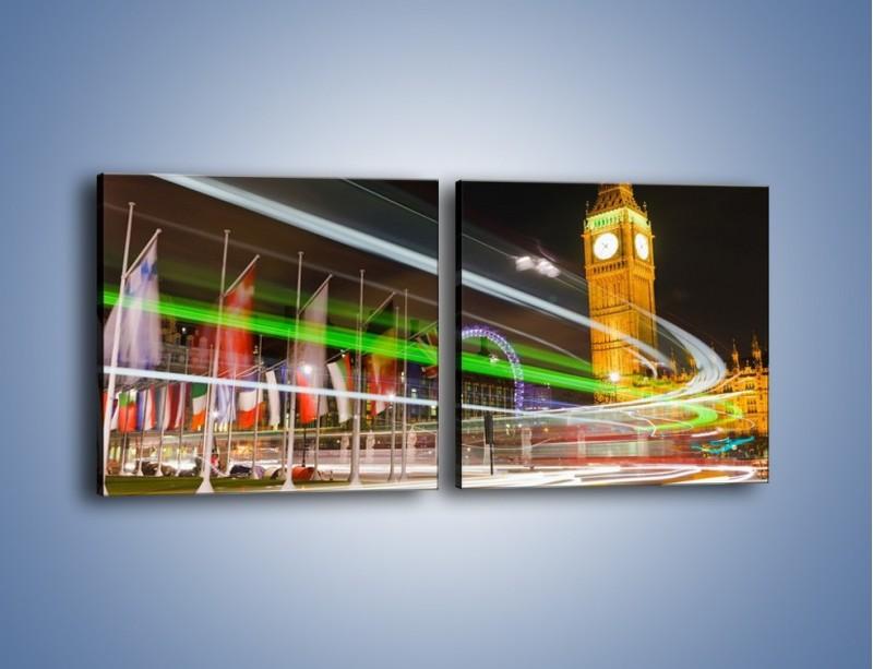 Obraz na płótnie – Światła samochodów na tle Big Bena – dwuczęściowy kwadratowy poziomy AM283