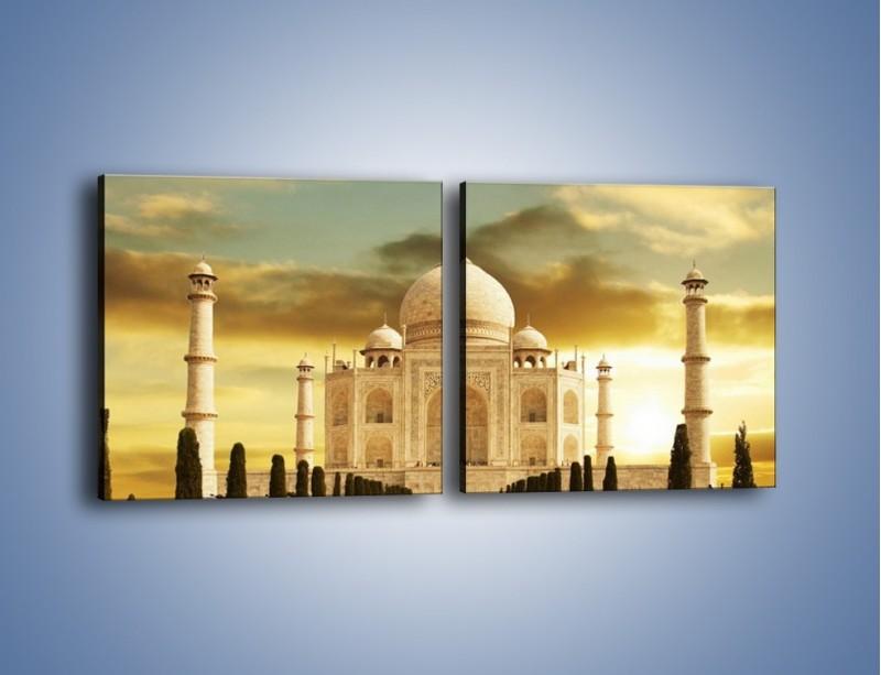 Obraz na płótnie – Tadź Mahal o zachodzie słońca – dwuczęściowy kwadratowy poziomy AM285