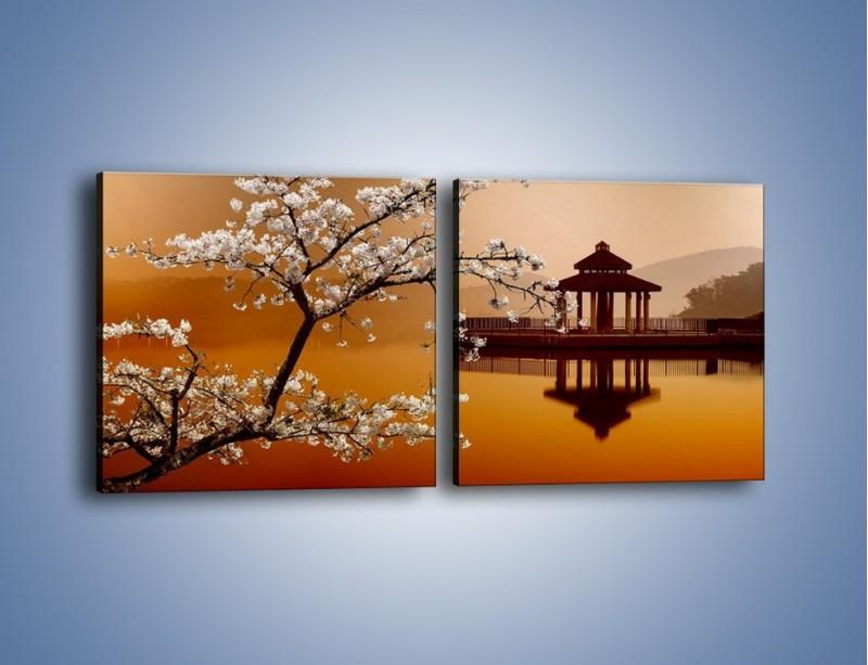 Obraz na płótnie – Kwiaty na tle Sun Moon Lake – dwuczęściowy kwadratowy poziomy AM301
