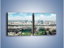 Obraz na płótnie – Chmury nad Wieżą Eiffla – dwuczęściowy kwadratowy poziomy AM302