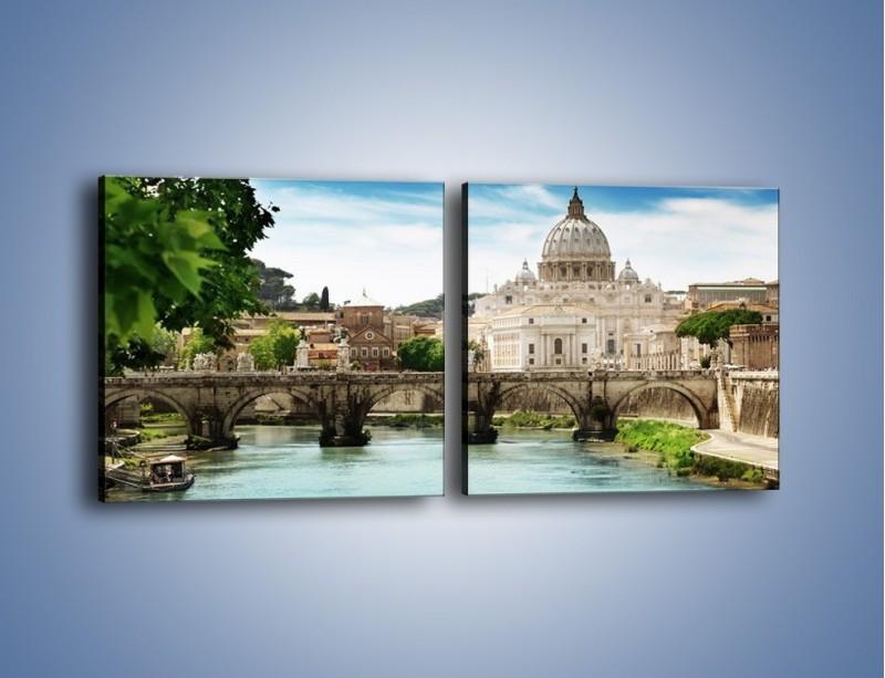Obraz na płótnie – Rzeka Tyber na tle bazyliki – dwuczęściowy kwadratowy poziomy AM303