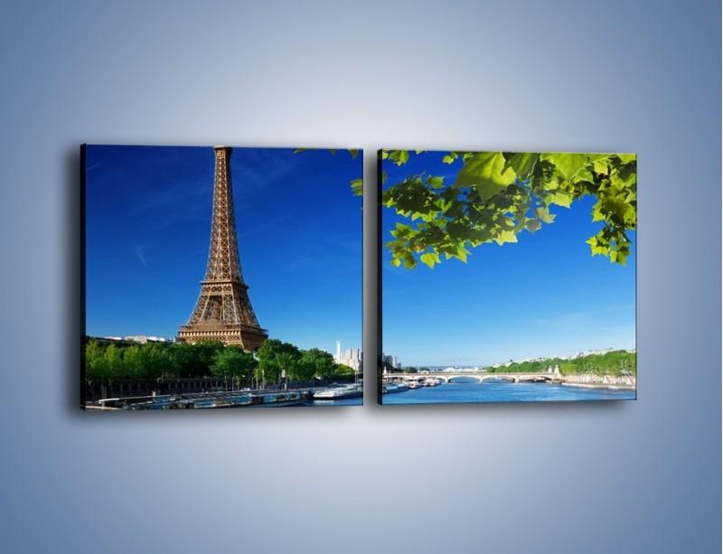 Obraz na płótnie – Wieża Eiffla w piękny dzień – dwuczęściowy kwadratowy poziomy AM304