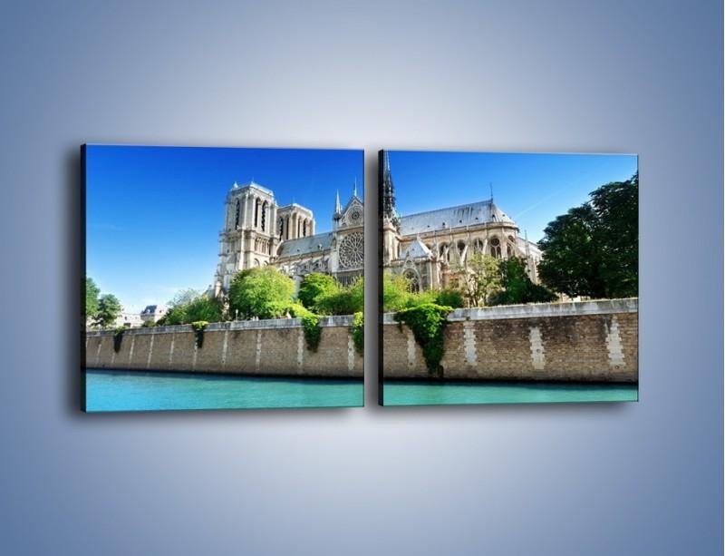 Obraz na płótnie – Katedra Notre-Dame – dwuczęściowy kwadratowy poziomy AM305